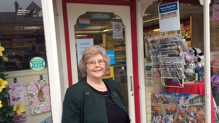 Gwen Wright in front of FC Barnwell & Sons in Market Place, Aylsham in March last year. Pictures: Da