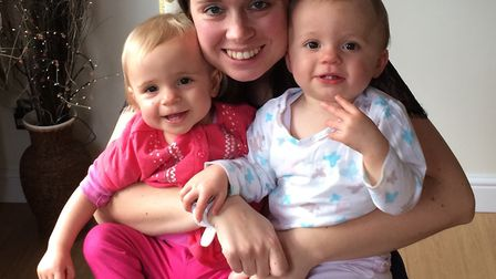 Naomi Farrow, with twin daughters Erin and Tess, when they were just a year old. Photo: Archant