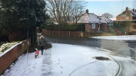 Snow in North Walsham on the morning of January 30, 2019. Picture: JESSICA FRANK-KEYES
