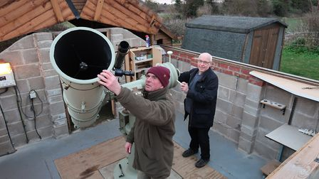 John Ramm and Andrew Glossop from the North Norfolk Astronomy Society with the society's telescope i
