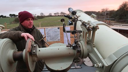 John Ramm from the North Norfolk Astronomy Society with the society's telescope at Wiveton. Picture: