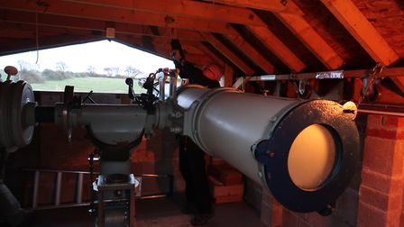 The North Norfolk Astronomy Society with the telescope in its housing at Wiveton. Picture: STUART AN