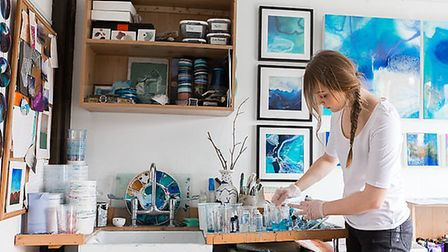 Amelia Mills in her studio. Pictures: supplied by NNDC