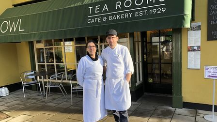 Co-owners of the Owl Tea Rooms in Holt - Claudia Pollinger and Ben Philo. Pictures: David Bale.