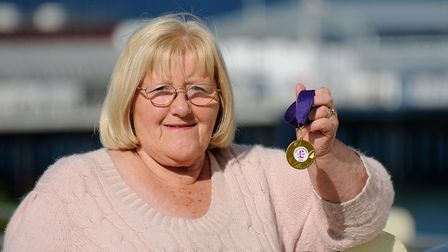 Former Cromer mayor Gwen Smith with her Ukip Gold Award in 2012. Picture: ANTONY KELLY