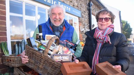 Dr Victoria Holliday, Cley-next-the-Sea parish councillor, and John Pryor, owner of the Picnic Fayre