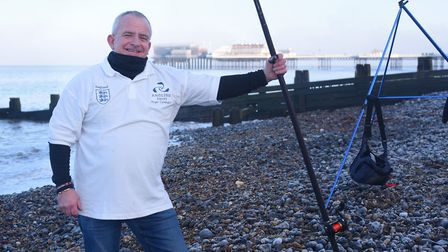 Roger Cunnington, master shore fisherman, at Cromer as he gets ready for the World Sport Fishing Gam