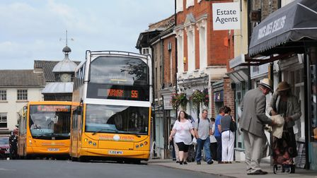 Bus in North Walsham. There are concerns the town's infrastructure would not be able to cope with th