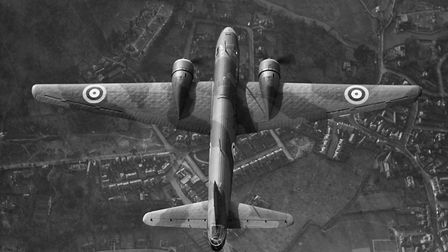 An overhead view of an RAF Bomber Command Vickers Wellington bomber in flight. Picture: PUBLIC DOMAI
