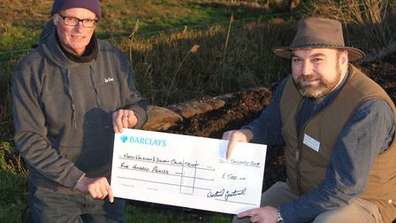 Ivan Cane, trust chairman (left) and trust fisheries officer Tom Webster beside the canal at Ebridge