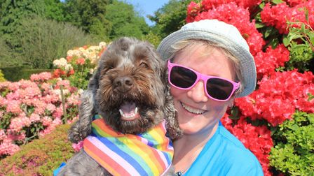Sing With Pride choir member Michelle Savage with her dog Frank at the Stody Lodge Gardens Big Gay O