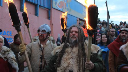 Re-enactors on parade at last year's Sheringham Scira Viking Festival.Photo: KAREN BETHELL