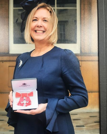 Sally Mills, manager of the Royal British Legion's Halsey House in Cromer, received her MBE medal at