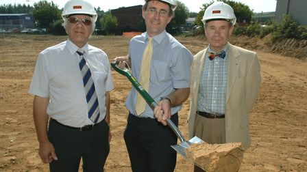 Philip High, left, at the sod-cutting to start work to extension of the industrial estate on Hempste