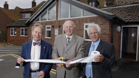 Michael Baker, Peter Moore and Philip High at the opening of the new toilets at Holt's Albert Street