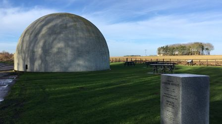 The Langham Dome museum, and behind, the former airfield land. Picture: Stuart Anderson