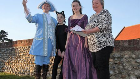 Cast members in this year's Mundesley panto are, from left, Jac Gatfield, Georgie Ellson and Sophie