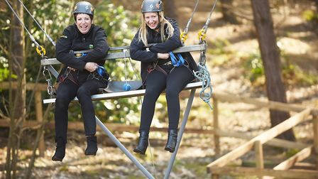 Sue Read and her daughter-in-law Helen on the super swing at Hilltop, which celebrates its 30th anni