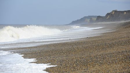 Weybourne Beach where the wreck of the St Francois was spotted out to sea close to the old coastguar