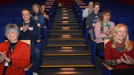 Staff and volunteers trying out the new seating at Sheringham Little Theatre. Pictures: Richard Bats
