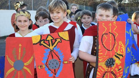 Roman soldiers on the march at Sheringham Primary School.Photo: KAREN BETHELL