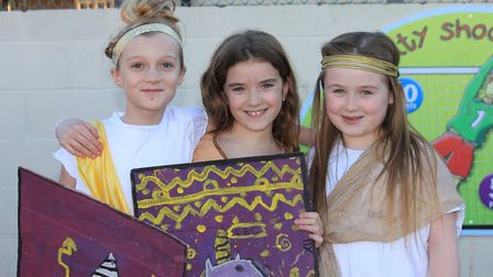 Summer, Darcey and Maisie dressed to impress at Sheringham Primary School's Roman day.Photo: KAREN B