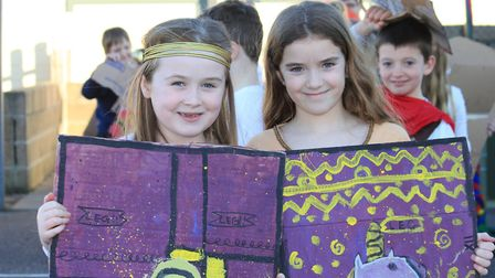 Eight-year-old classmates Maisie and Darcey with their Roman shields.Photo: KAREN BETHELL