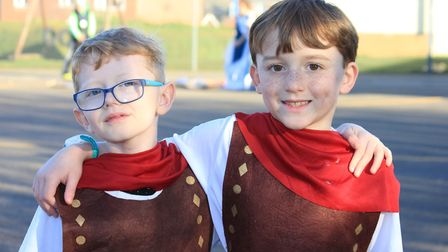 Eight-year-old pals Reece and Charlie dressed as Roman centurions.Photo: KAREN BETHELL