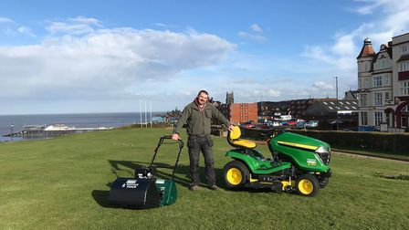 Olly Deakin, owner of the Cromer Putting Green, at the clifftop site. Photo: Olly Deakin