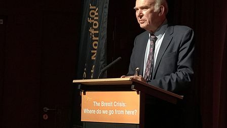 Lib Dem Leader, Vince Cable, gave a speech about the impact of Brexit. Picture: Victoria Pertusa