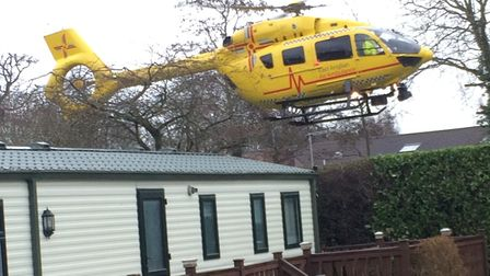 The East of England Air Ambulance was called to Woodland Holiday Park after a man was taken ill in t