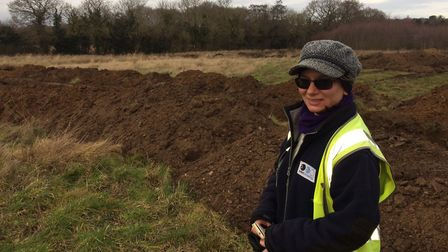 Gosia Kwiatkowska from Oxford Archaeology East at the dig in Roughton, near Cromer. Pictures: David