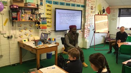 Rai Bukulu visited pupils at Buxton Primary School to mark a child soldier awareness day. Photo: Bux