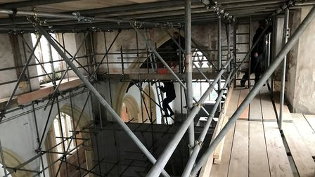 Scaffolding at Cawston church ahead of the 'Hard-hat' days. Picture: Revd Andrew Whitehead