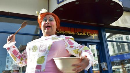 Nick Earnshaw outside Sheringham Little Theatre, which is celebrating ten years of pantomime. Photo: