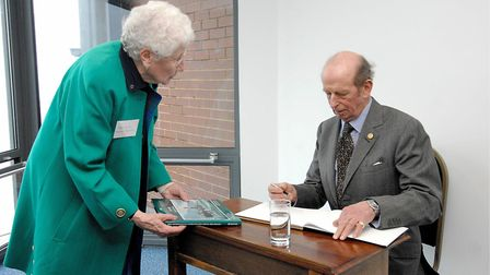 Mary Blyth meeting the Duke of Kent when he officially opened Sheringham Museum in 2010. Photo: ARCH