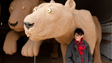 Shauna Richardson's 'crochetdermy' of the lions in the Lionheart Project. Picture: NICK HAND