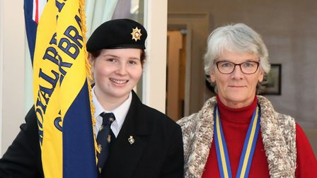 Cromer and District Royal British Legion new standard bearer Bethan Phillip-Pritchard with branch ch