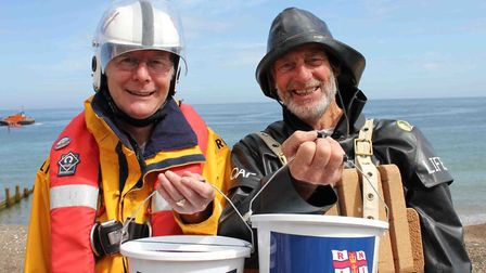 Bucket collectors at Cromer lifeboat day, which the town's Ladies Lifeboat Guild help to organise. P