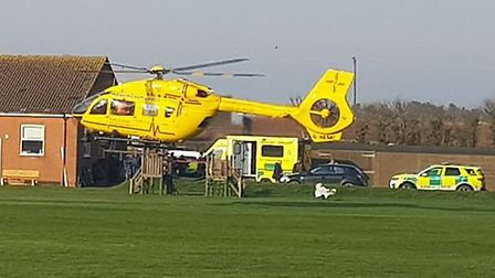 The air ambulance landing at Happisburgh. Picture: Paul Hovell