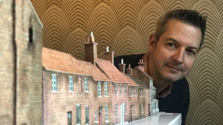 Richard Crossley is recreating a scale model of the former Ship Yard in North Walsham. Picture: Neil