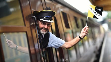 NNR guard, Ian Urquhart, at Sheringham Station on Norfolk Day 2018.Picture: ANTONY KELLY