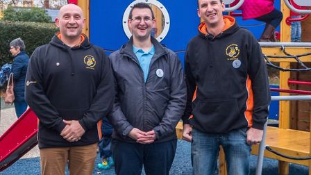 Jason Deakin, left, and Ed Margarson from North Walsham Round Table with Matthew Smith from North Wa