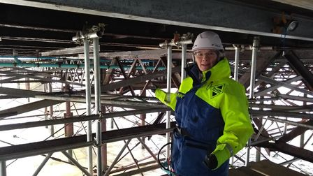 Hilary Cox, NNDC councillor and MBE, viewing works taking place at Cromer pier. Photo: North Norfolk