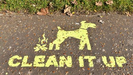 Clean it Up slogan on the pavement. Picture: James Bass