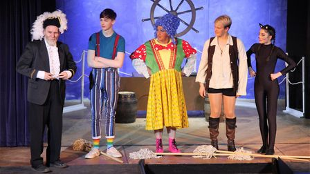 On stage during the Mundesley panto Dick Whittington and his cat. Picture: MAURICE GRAY