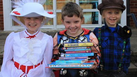 Belfry Primary School pupils Myah, Alfie and Jack as Mary Poppins, Thor and Percy the Park Keeper. P