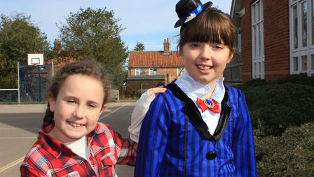 Eight-year-old Belfry Primary School pupils Charlotte and Sophie as Fern, from the E B White book Ch