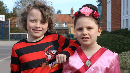 Belfry Primary School pupils Oscar, 8, and Ruby, 6, as Denis the Menace and Disney's Mulan.Photo: KA