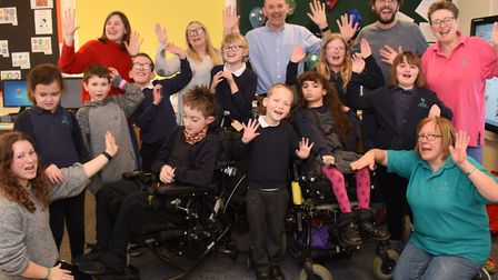 Children and staff in Turtles class join head James Stanbrook, back centre, to celebrate Sheringham